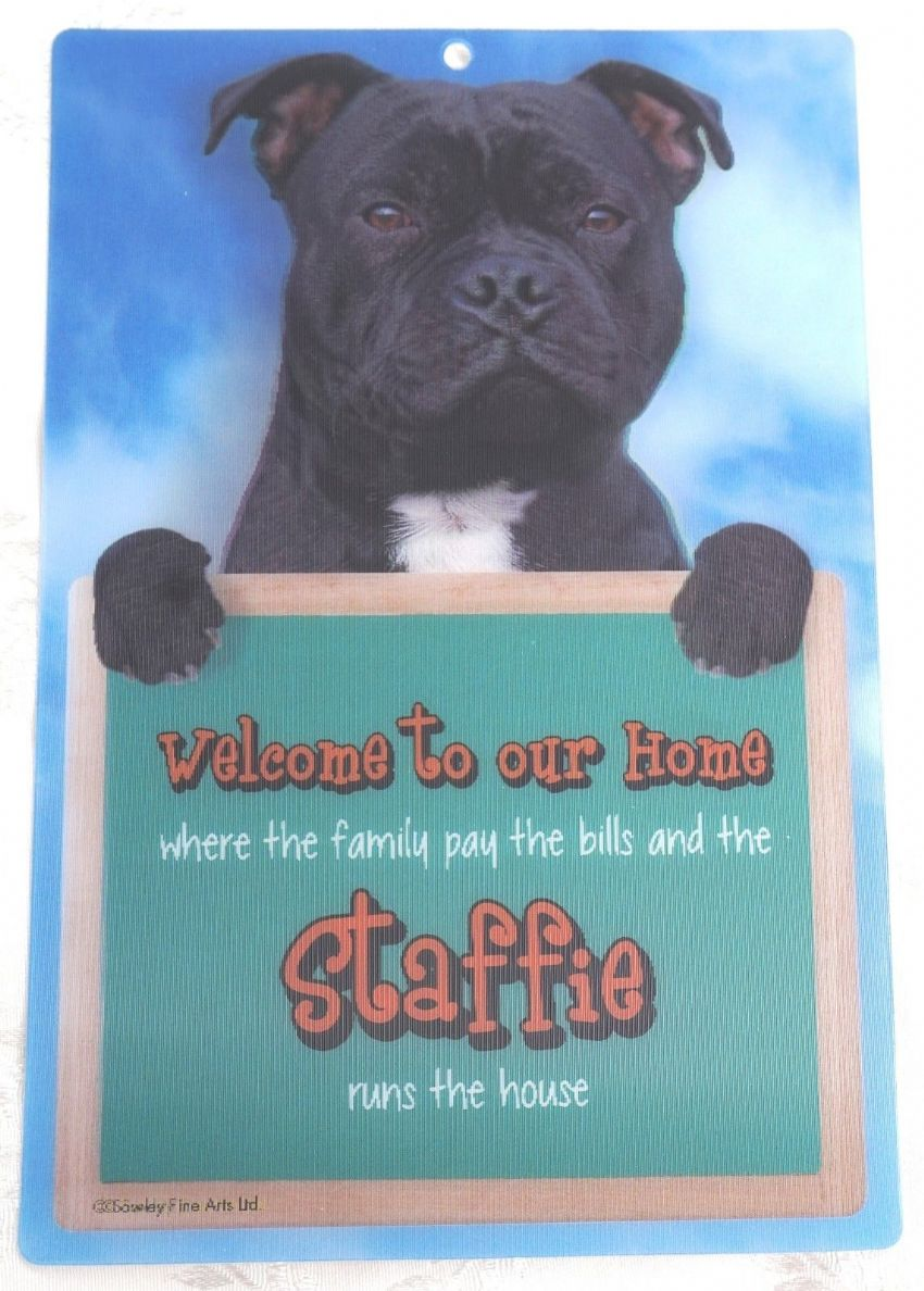 BLACK STAFFIE 3D WELCOME SIGN STAFFORDSHIRE BULL TERRIER 23CM X 15CM DOG SIGN